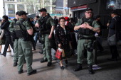 An Amtrak police special operations unit stands by outside of Penn Station on April 16 2013 in New York City Police were out in force throughout New...