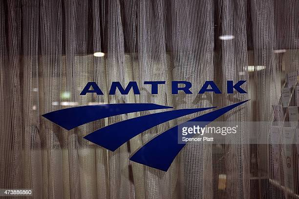 An Amtrak sign is viewed is as normal service returned between New York City and Philadelphia on May 18 2015 in New York City Service in the busy...