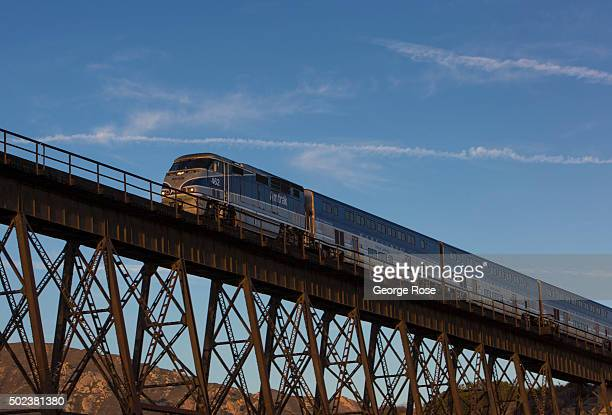 An Amtrak Surfliner train travels across the trestle over Gaviota State Beach on October 1 in Gaviota California Because of its close proximity to...