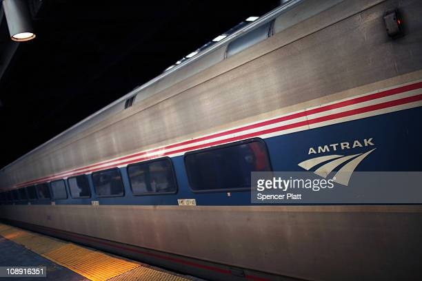 An Amtrak train pulls into Newark Penn Station on February 8 2011 in Newark New Jersey Amtrak a governmentowned corporation has joined up with New...