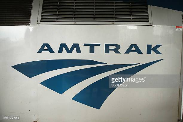An Amtrak train sits in Union Station on April 9 2013 in Chicago Illinois Amtrak set a record in March for the single best month ever in the...