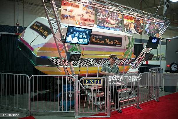 An amusement park ride at the Oil Sands trade show on April 26th 2015 in Fort McMurray Canada Small businesses from across the country attend the...