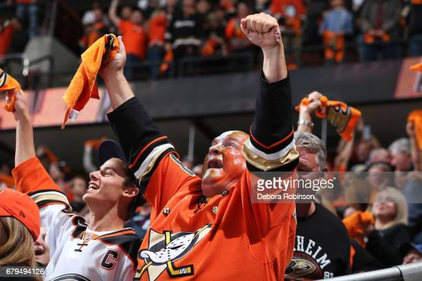 An Anaheim Ducks fan cheers following a tying goal in the final minute of the third period in Game Five of the Western Conference Second Round...