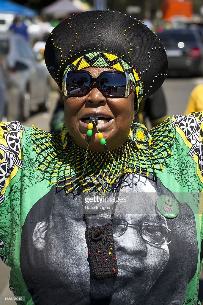 An ANC supporter arrives at the ANC's elective conference on December 17, 2012 in Mangaung, South Africa.