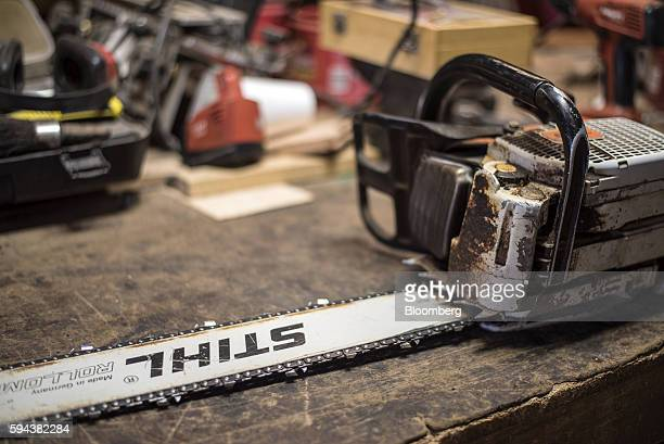 An Andreas Stihl AG Co KG chainsaw sits on a table at the Spotted Owl Timber Inc mill in Santa Fe New Mexico US on Monday Aug 15 2016 Founded in 1991...