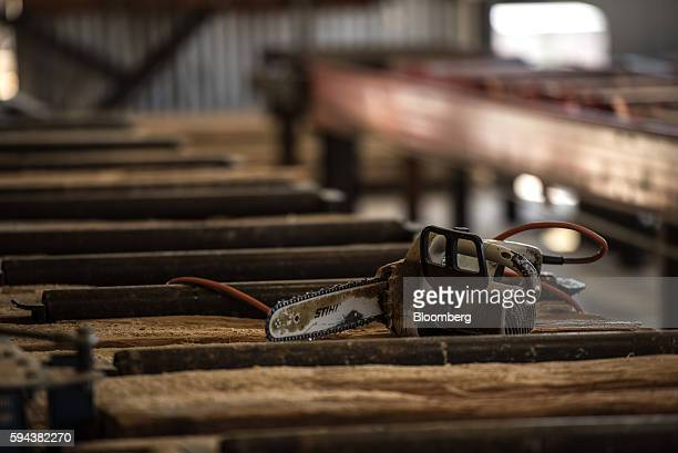 An Andreas Stihl AG Co KG chainsaw sits on wood planks at the Spotted Owl Timber Inc mill in Santa Fe New Mexico US on Monday Aug 15 2016 Founded in...