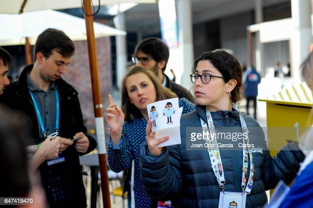 An Android worker giving customizable stickers during the Mobile World Congress on March 2 2017 in Barcelona Spain