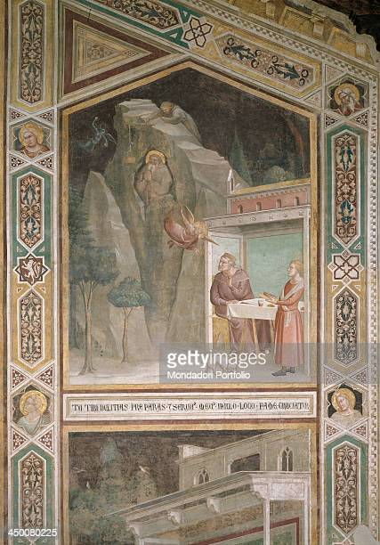 An angel instructs a priest to bring food to St Benedict by Taddeo Gaddi 1335 1340 14th Century fresco