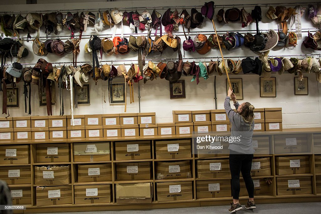 An Angels employee reaches for a hat at Angels Costume House on January 20, 2016 in London, England. Angels Costumes established in 1840 is in its 175th year, and is the longest-established and largest professional costume house in the world. The costumier is to receive the 'Outstanding British Contribution to Cinema Award' at the EE British Academy Film Awards ceremony at Londons Royal Opera House on Feb 14, 2016.