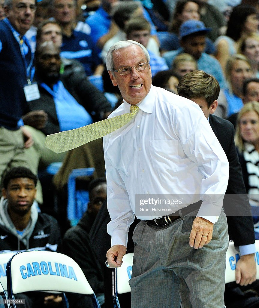 An angry coach Roy Williams of the North Carolina Tar Heels watches his team play against the UAB Blazers at the Dean Smith Center on December 1, 2012 in Chapel Hill, North Carolina. North Carolina won 102-84.