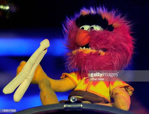 An Animal character from 'The Muppet Show' is displayed on the drum kit of New Found Glory drummer Cyrus Bolooki during the Pop Punk's Not Dead tour...