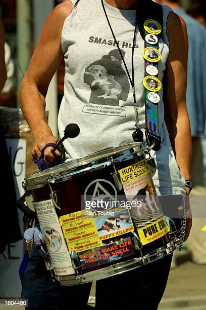 An animal rights protester beats on a drum during a protest against experimentation on animals at Huntingdon Life Sciences July 26 2001 at the...