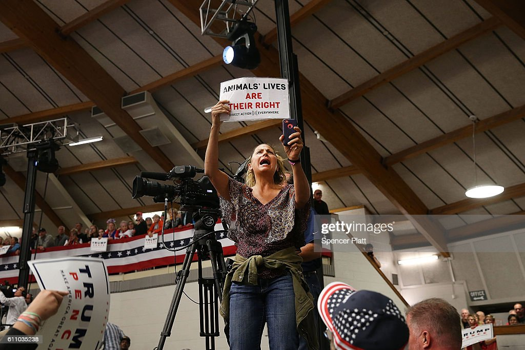 An animal-rights activist protests at a rally for Republican presidential nominee Donald Trump on September 28, 2016 in Waukesha, Wisconsin. Trump has been campaigning today in Iowa, Wisconsin and Chicago.