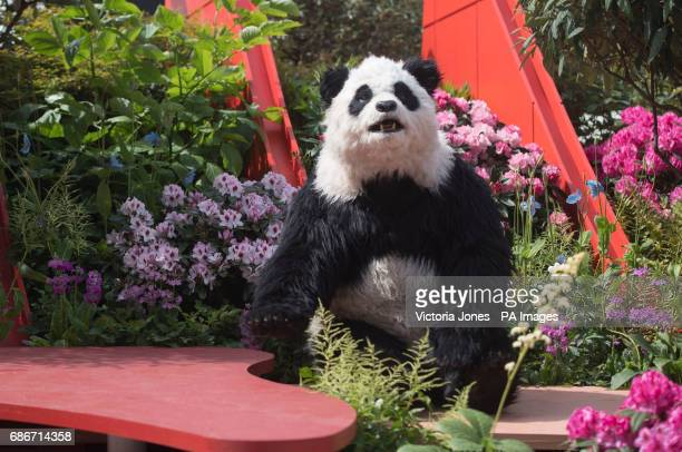 An animatronic giant panda in the Silk Road Garden during the press preview of the RHS Chelsea Flower Show at the Royal Hospital Chelsea London