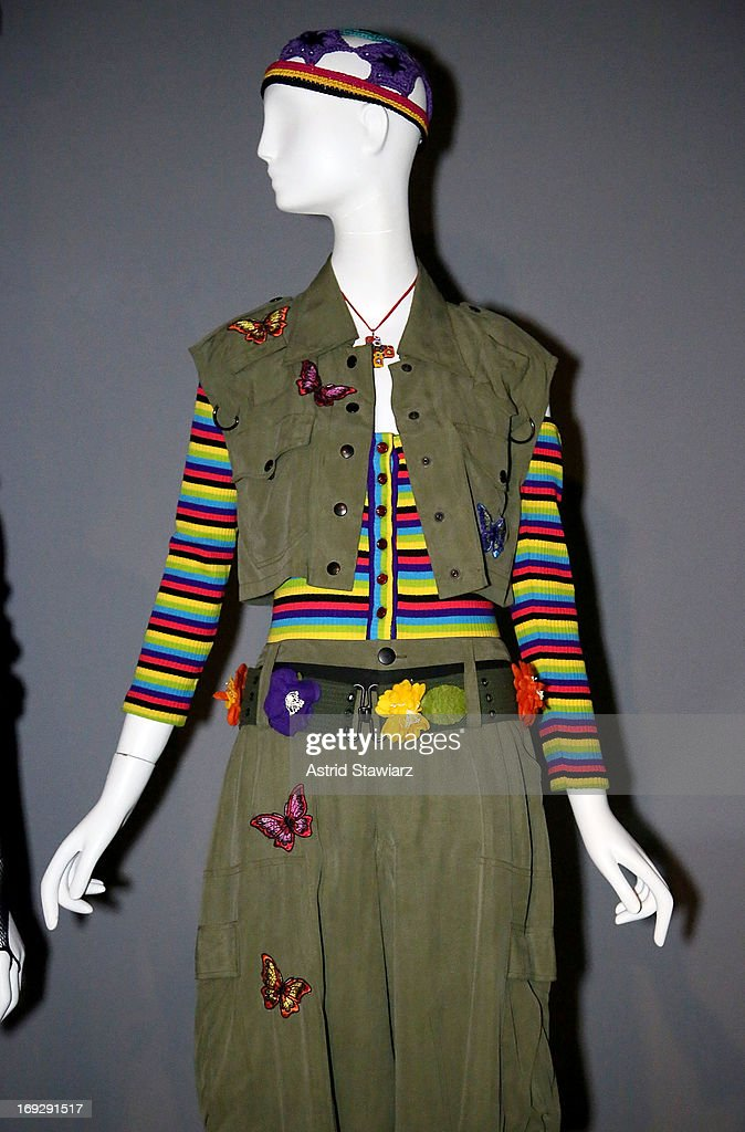 An Anna Sui Rainbow Grunge ensemble from 1993 is shown at the RetroSpective Press Preview at The Museum at FIT on May 22, 2013 in New York City.