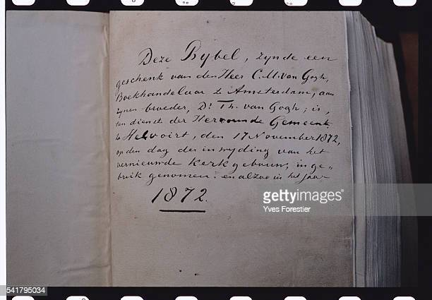 An annotation of 1872 on the bible of the father of Vincent van Gogh who was pastor here | Location NoordBrabant Netherlands