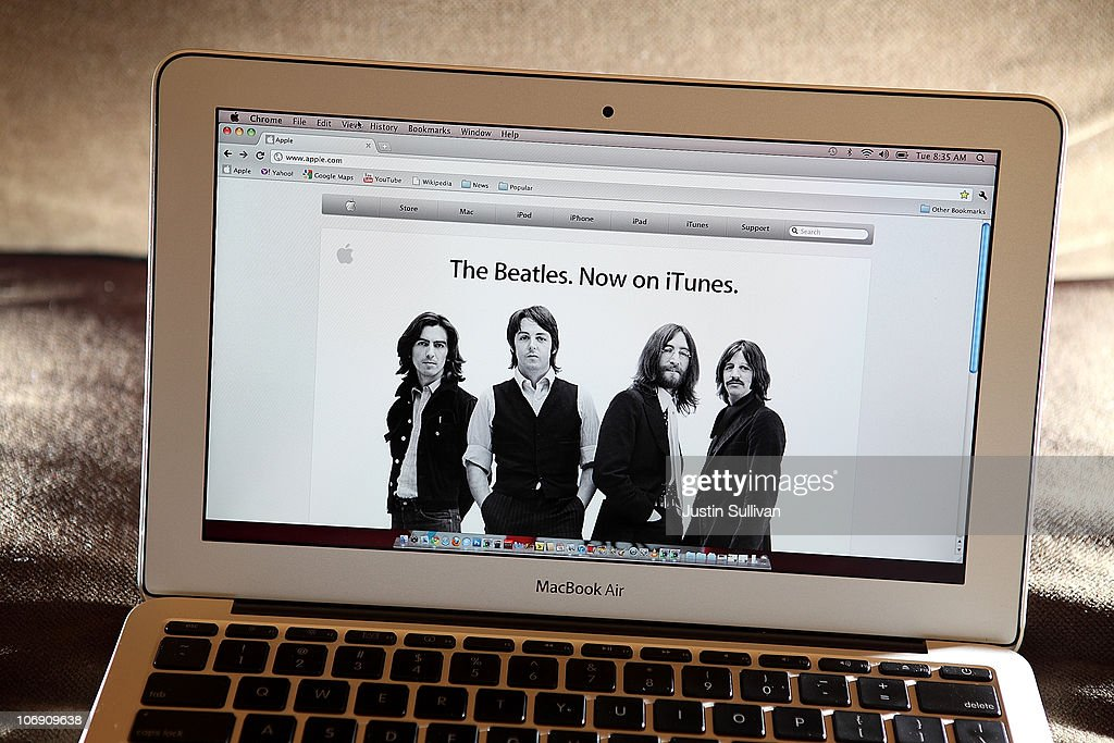 An announcement of The Beatles coming to iTunes appears on the Apple website November 16, 2010 in San Anselmo, California. Apple has struck a deal with the record label EMI and the Beatles' company Apple Corps to sell digital downloads of the legendary rock band's music on iTunes.