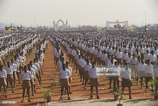 An annual rally by the Rashtriya Swayamsevak Sangh a paramilitary volunteer nationalist organisation 4th December 1995