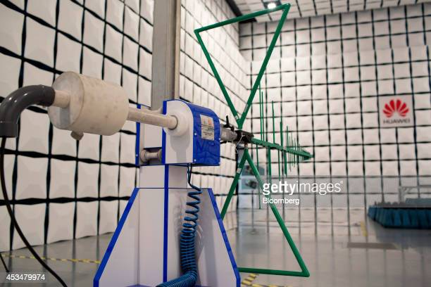 An antenna stands inside a semianechoic chamber in the global compliance and testing center at the Huawei Technologies Co campus in the Longgang...