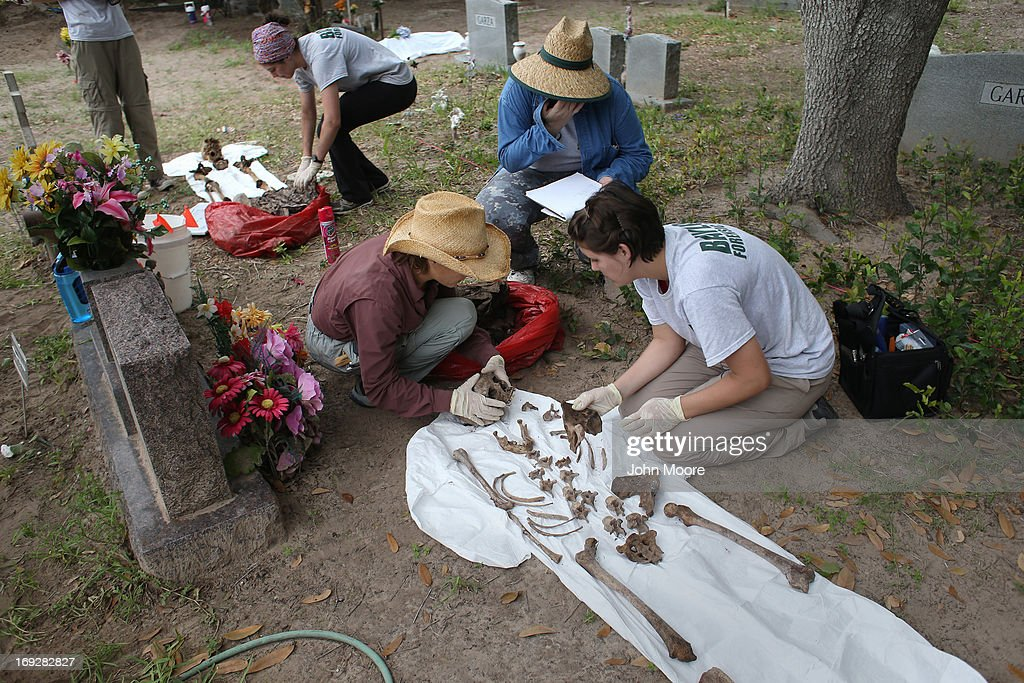 An anthropology team reassembles the skeleton of a suspected undocumented immigrant after they exhumed the bones from a gravesite on May 22, 2013 in Falfurrias, Brooks County, Texas. In Brooks County alone, at least 129 immigrants perished in 2012, most of dehydration while making the long crossing from Mexico. Teams from Baylor University and the University of Indianapolis are exhuming the bodies of more than 50 immigrants who died during their journey. The bodies will be examined and cross checked with DNA sent from Mexico and Central American countries, with the goal of reuniting the remains with families.
