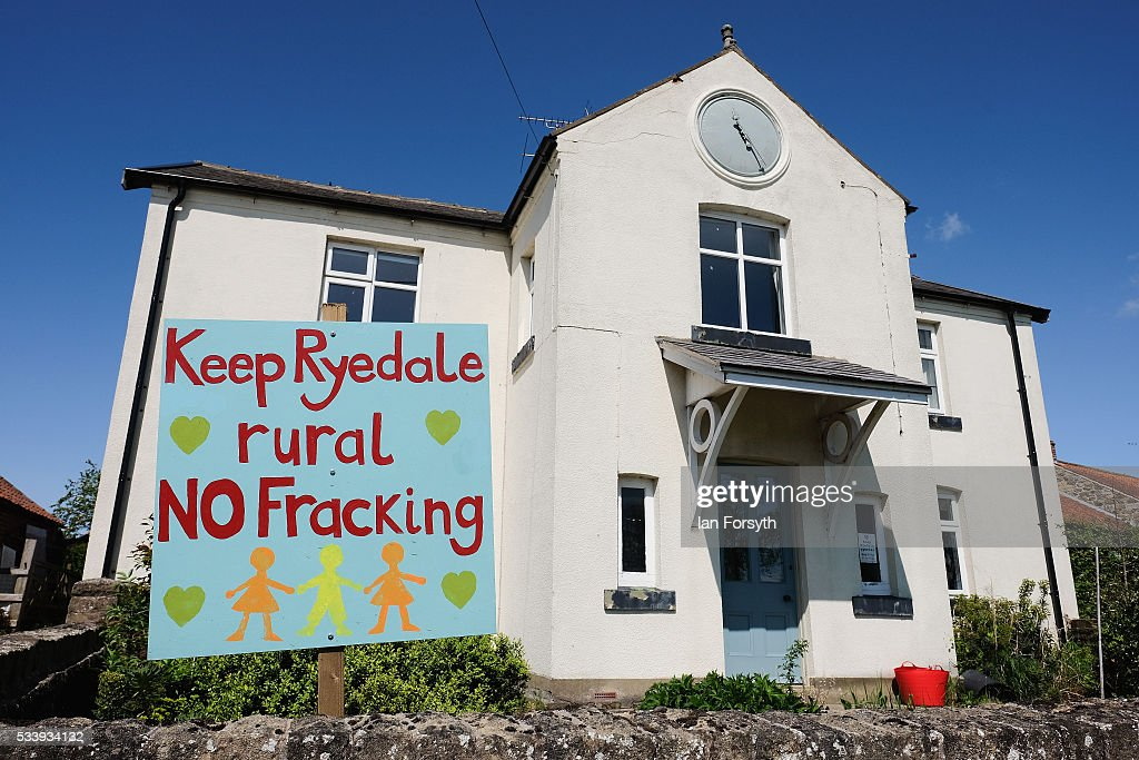 An anti fracking sign is displayed in the garden of a home on the outskirts to the village of Kirby Misperton on May 24 2016 in Malton England North...