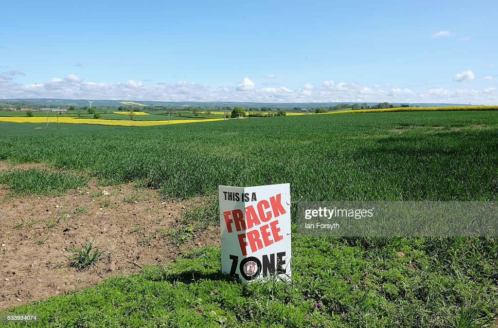 An anti fracking sign is placed overlooking the open countryside of Ryedale near the village of Kirby Misperton on May 24 2016 in Malton England...