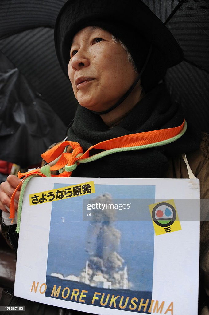 An anti nuclear protestor holds a picture of smoke billowing from TEPCO's Fukushima dai-ichi nuclear plant at a demonstration in Tokyo on December 15, 2012, as some 3,000 people hold a rally. High-level officials, including government ministers, from more than 50 countries and organisations gathered at Fukushima to hold a three-day international conference on nuclear safety. AFP PHOTO / Rie ISHII