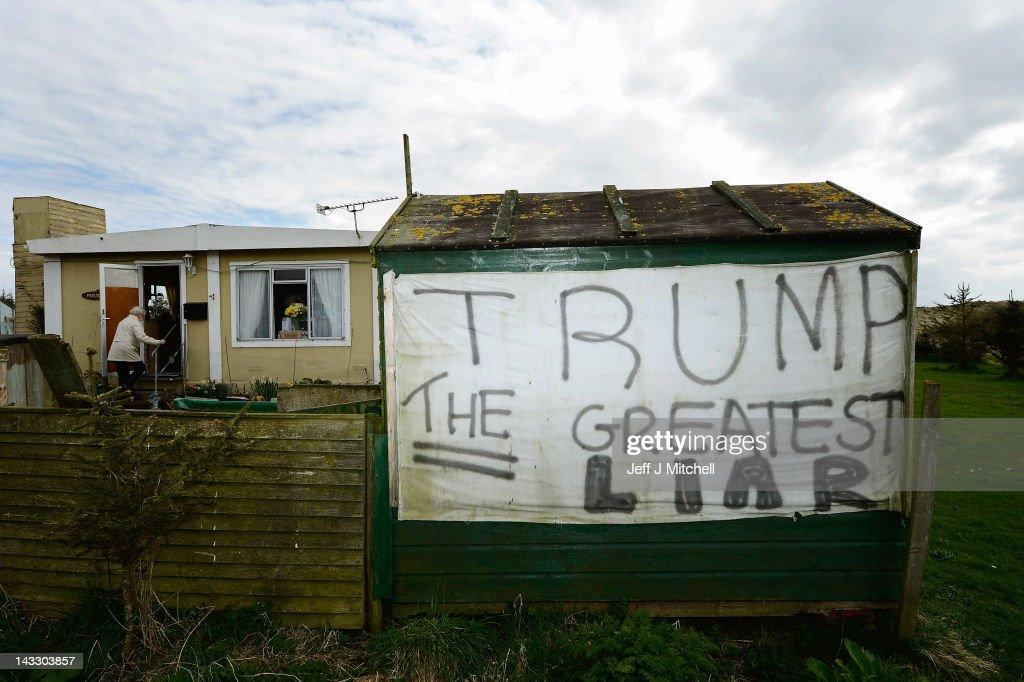 on the Menie estate on April 23, 2012 in Aberdeen, Scotland. Mr Trump ...