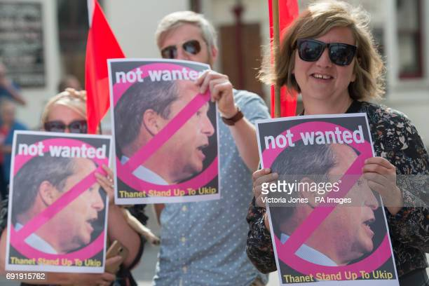 An anti UKIP demonstration takes places as former Ukip leader Nigel Farage attends a UKIP meeting in Ramsgate while on the general election campaign...