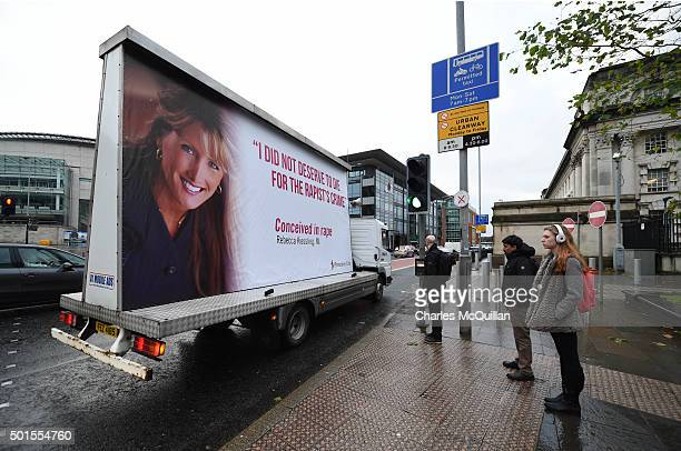 An antiabortion message is displayed outside Belfast Magistrates' Court following Mr Justice Horner's landmark ruling on the issue of abortion on...
