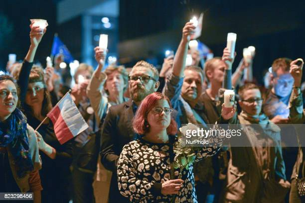 An antigovernment candlelit vigil in front of Krakow's District Court on Wednesday evening where hundreds gathered for the tenth consecutive night in...
