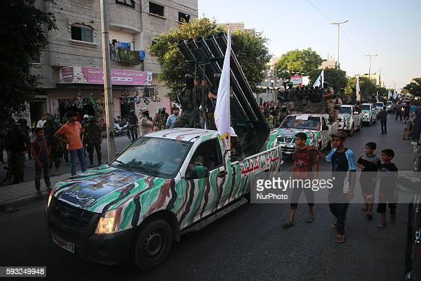 An antiIsrael military parade of the alQassam Brigades the armed wing of the Hamas movement to mark the second anniversary of the killing of Hamas's...