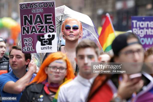 An antiNazi message on display as people take part in the Pride Glasgow parade through the city centre