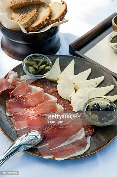 An antipasti platter at the Aman Sveti Stefan a 15th century island village built atop a rocky island of the coast of Montenegro and now a luxury...