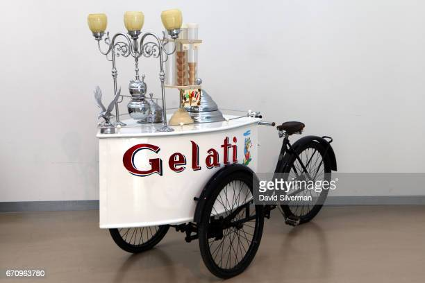 An antique 1938 Gelati tricycle with freezer compartments for two flavors as well as a sauce dispenser and cone compartment on display at the...