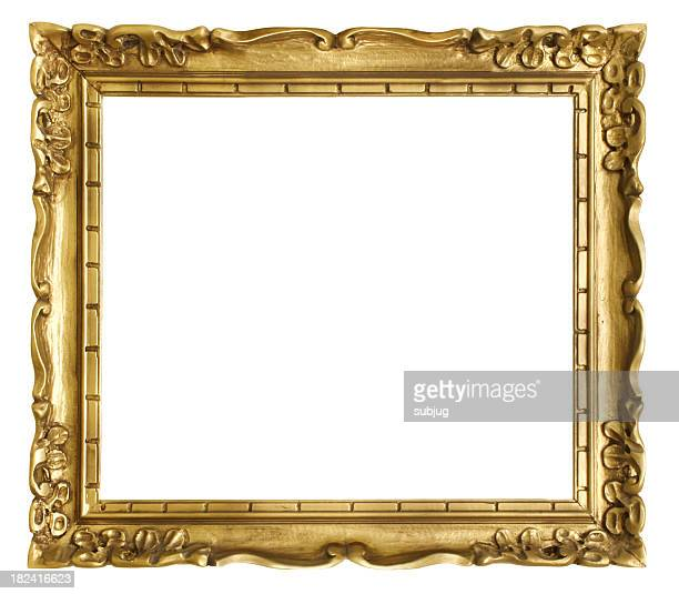 An antique gold frame with a white background