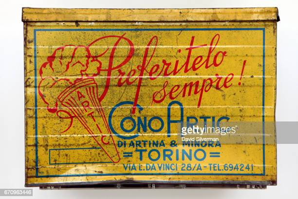 An antique Italian gelato wafer box on display at the Carpigiani Gelato Museum on March 28 2017 in Bologna Italy Italian brothers Bruto and Poerio...