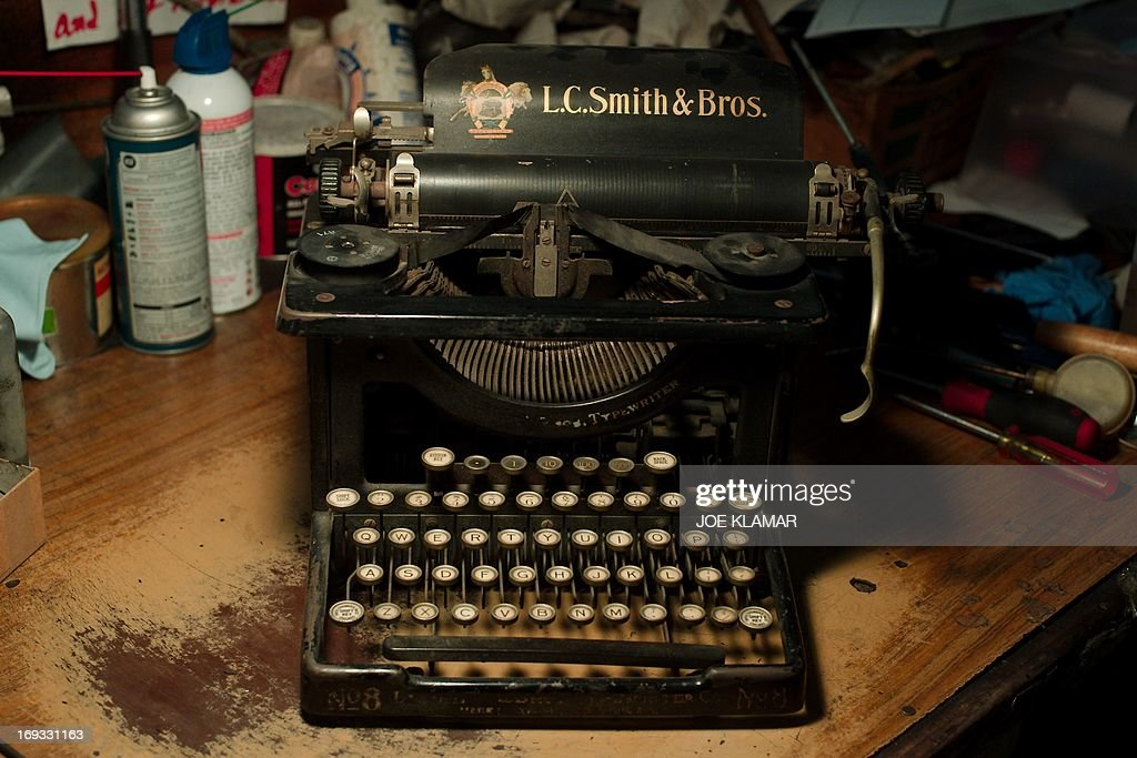 An antique L.C. Smith & Brothers typewriter is seen in the shop of Ermanno Marzorati, owner of Star Office Machines works in Los Angeles, California on May 03, 2013. In his workshop, the 68 year old Italian, who has resided in Los Angeles since 1969, has restored typewriters belonging to such notables as Ian Fleming - the creator of James Bond - Tennessee Williams, Ray Bradbury, Ernest Hemingway, Orson Welles and John Lennon.