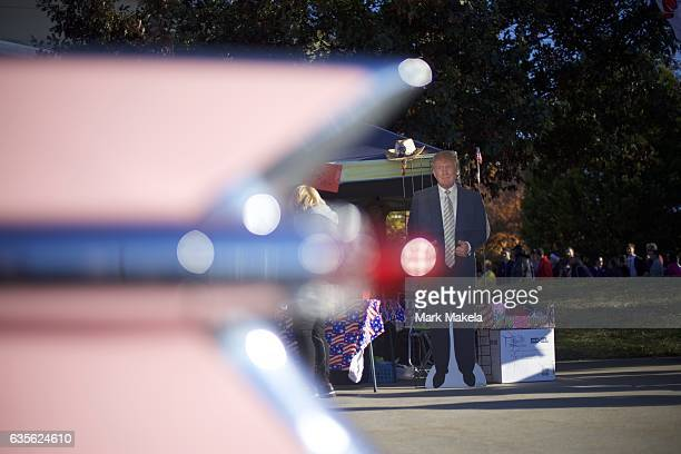 An antique pink Cadillac is decorated in support of Donald Trump outside before a rally for the Republican Presidential nominee November 4 2016 at...