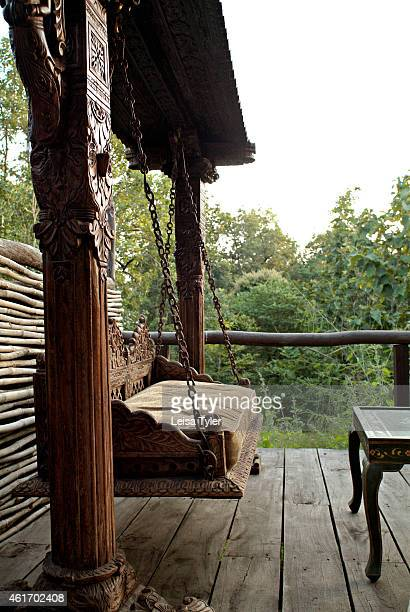 An antique swing on the balcony of a guest room at Baghvan a newly opened safari lodge on the outskirts of Pench National Park Opening in late 2007...
