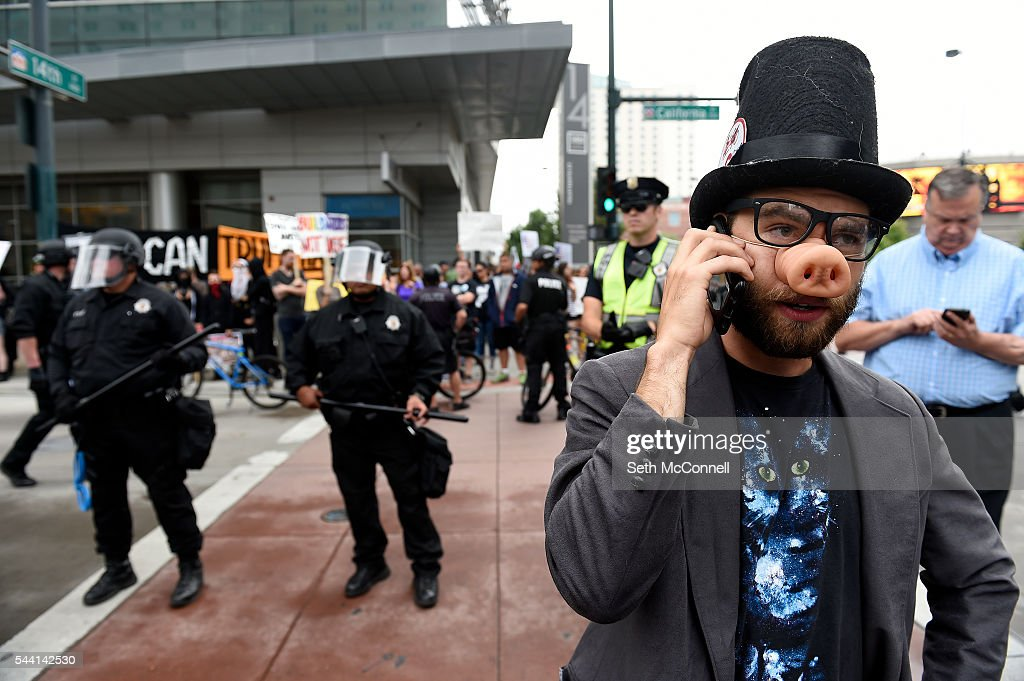An Anti-Trump protester during the Anti-Trump rally at the corner of 14th and California in Denver, Colorado on June 1, 2016.