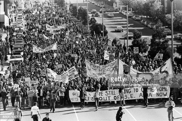 An antiVietnam War peace march up Geary Boulevard with Vietnam vets and United Prisoners Union advocates leading the way San Francisco California 1970
