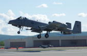 An A/O A10 Thunderbolt II takes off for a mission May 24 2005 at Eielson Air Force Base Alaska