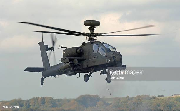 An Apache attack helicopter taking part in a training exercise for the British Army on Salisbury Plain Wiltshire
