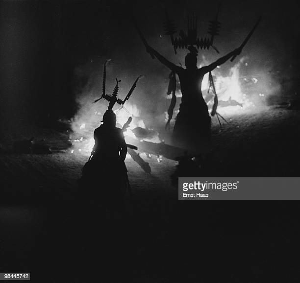 An Apache Crown Dance in New Mexico 1952 The Crown Dancers or Gaan represent the sacred mountain spirits of the Apache This image is a composite made...