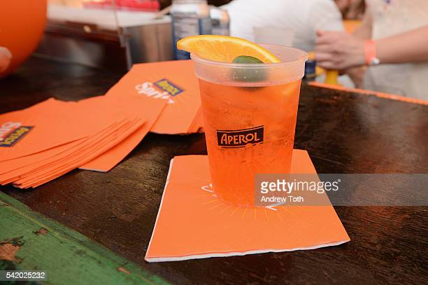 An Aperol drink on display at The 7th Annual Saveur Summer Cookout at Boat Basin Cafe on June 21 2016 in New York City