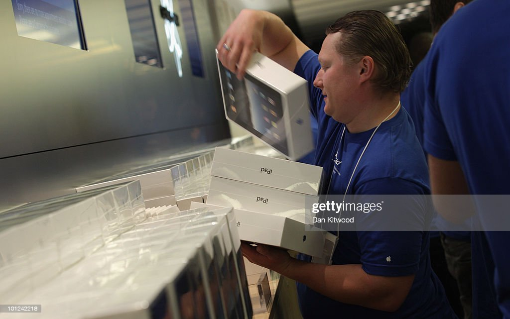 An Apple employee stacks products on the shop floor at Regent Street's Apple store on May 28, 2010 in London, England. Apple iPads went on sale today in countries including Japan, Australia, Germany, Italy, Canada, Switzerland and the United Kingdom as part of Apple's global roll-out of the hugely successful new device.