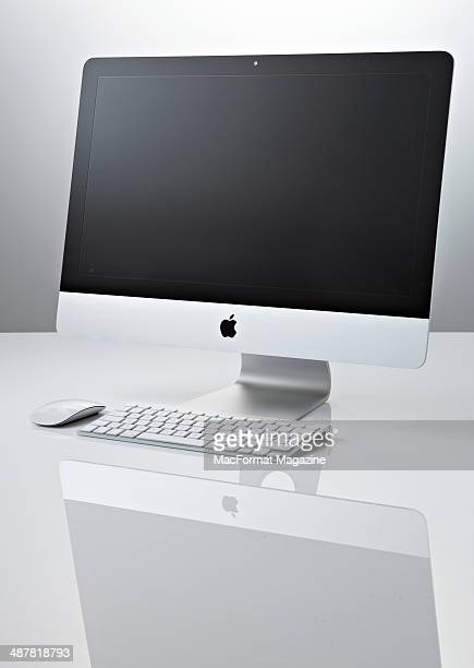 An Apple iMac photographed on a white and grey background taken on August 8 2013
