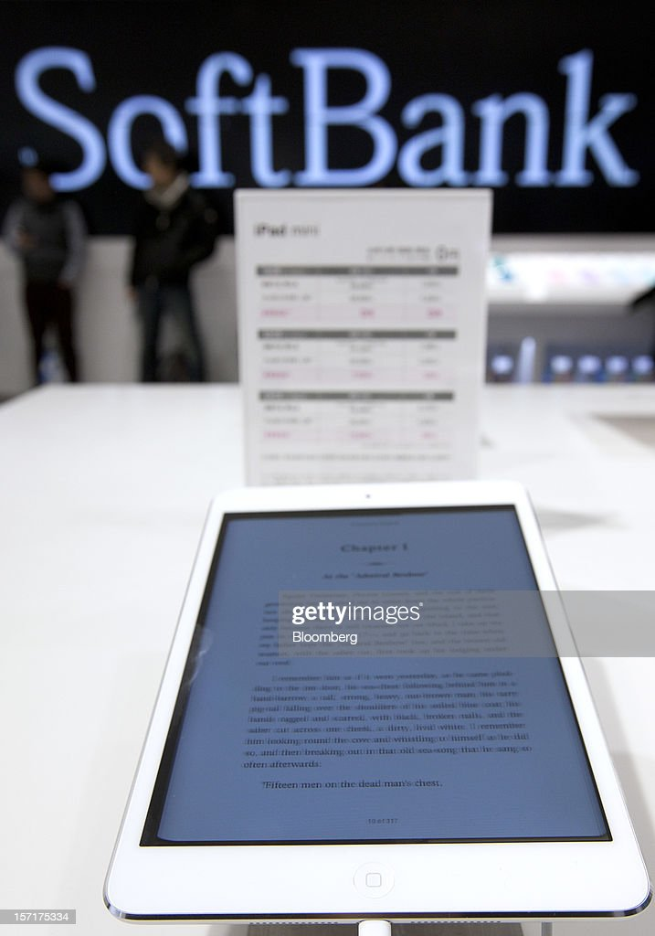 An Apple Inc. iPad Mini is displayed at the Softbank Corp. store in the Ginza district of Tokyo, Japan, on Friday, Nov. 30, 2012. Softbank, the Japanese mobile-phone carrier that agreed this month to buy a $20 billion stake in Sprint Nextel Corp., started to sell the iPad Mini today. Photographer: Tomohiro Ohsumi/Bloomberg via Getty Images
