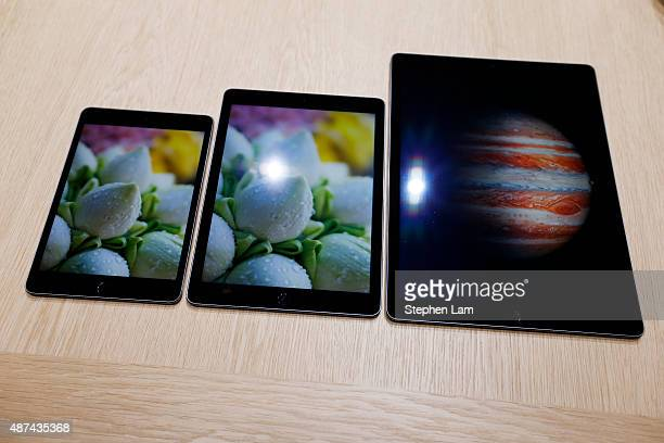 An Apple iPad Mini 4 iPad Air 2 and the new iPad Pro are seen in the demo area after a special event at Bill Graham Civic Auditorium on September 9...